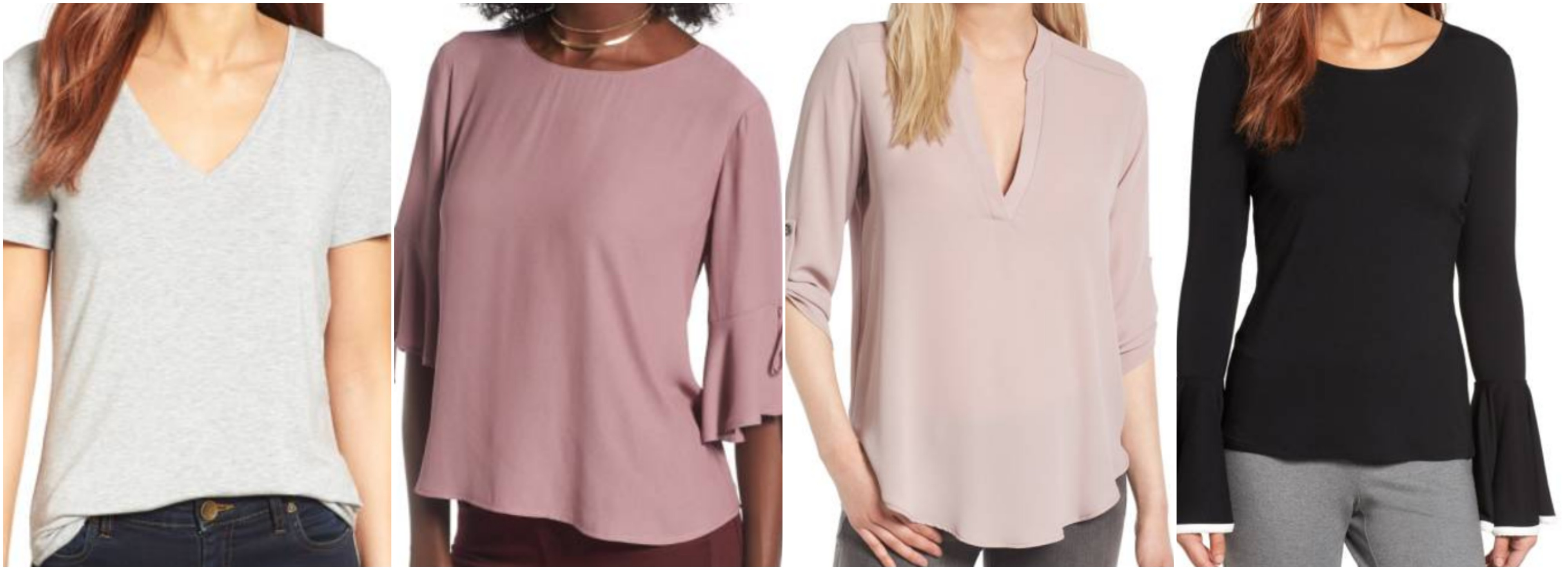 df8ea17e8567 Halogen V-Neck Tunic Tee    Lush Bell Sleeve Top · Lush Roll Tab Sleeve Top     Vince Camuto Bell Sleeve Top