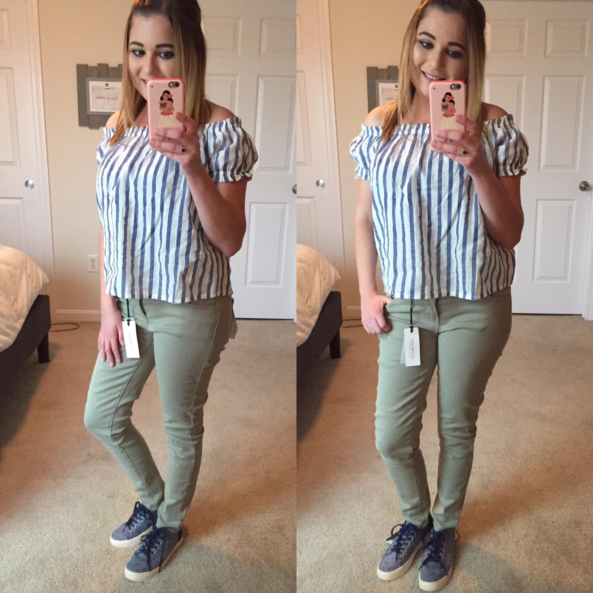 Vero Moda Zeena Off the Shoulder Top, Just Black Adorra Skinny Jeans, Toms Lenox Sneakers